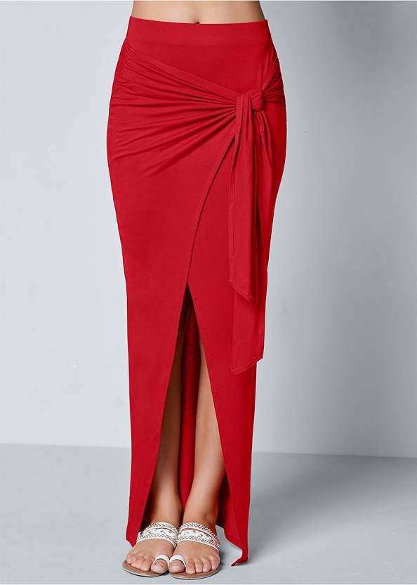 Front view Tie Front Long Skirt