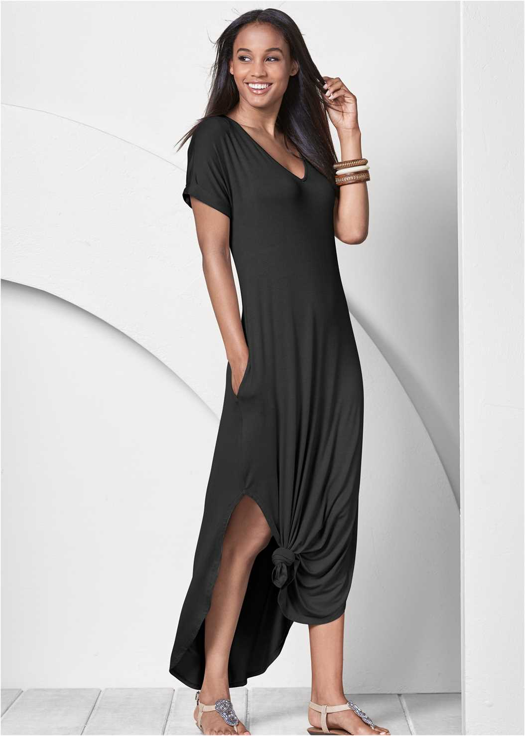 Casual T-Shirt Maxi Dress,Fringe Handbag