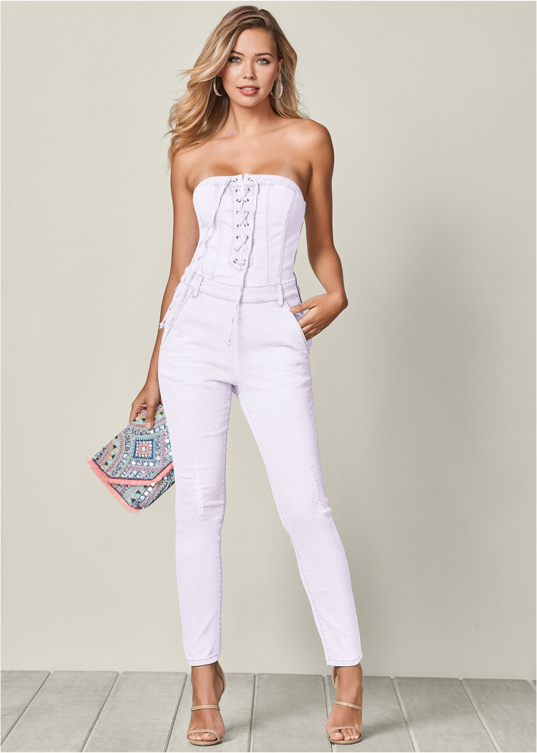 Lace Up Denim Jumpsuit,Studded Belt Bag