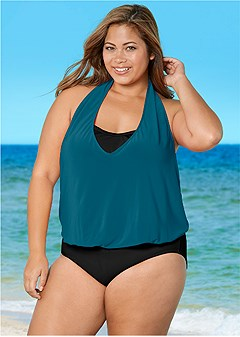 plus size cowl neck twofer one-piece