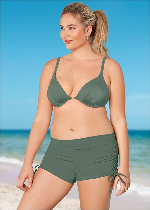 Adjustable Side Swim Short,Lovely Lift Wrap Bikini Top