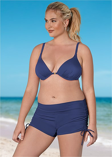 Plus Size Adjustable Side Swim Short