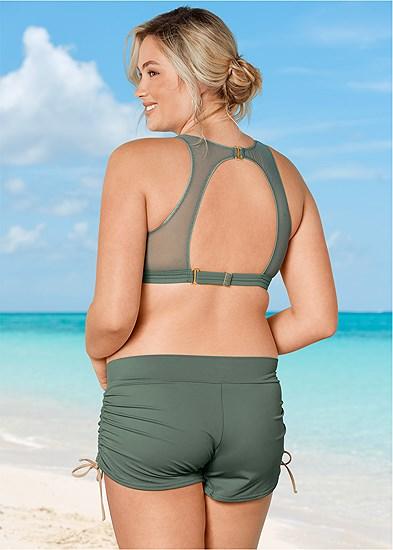 Plus Size Mesh High Neck Bikini Top