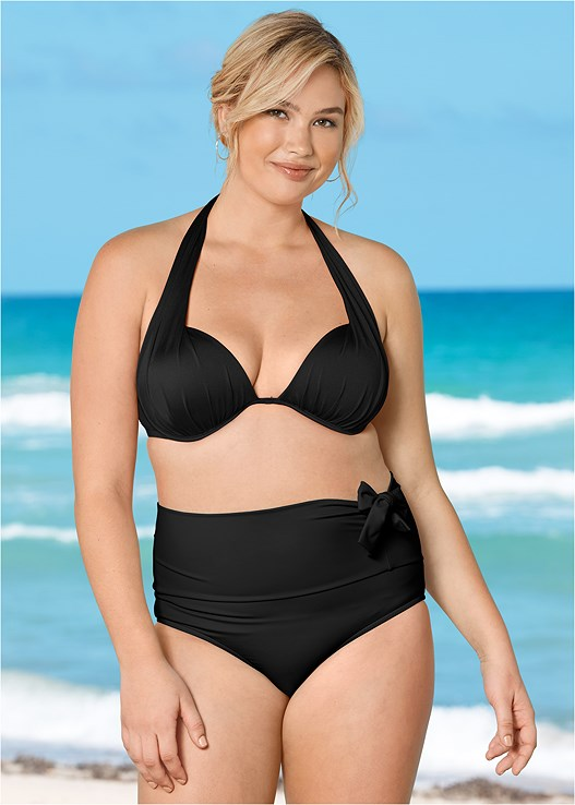 MARILYN PUSH UP BRA TOP,LEILA HIGH WAIST BOTTOM,ADJUSTABLE SIDE BOTTOM,ADJUSTABLE SIDE SWIM SHORT,RUCHED HIGH WAIST BOTTOM