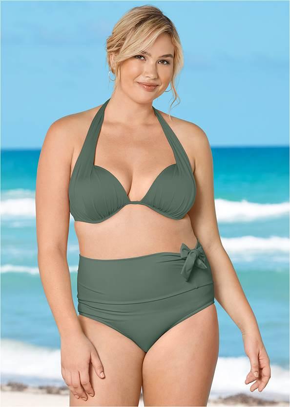 Leila High Waist Bottom,Marilyn Underwire Push Up Halter Top,Lovely Lift Wrap Bikini Top