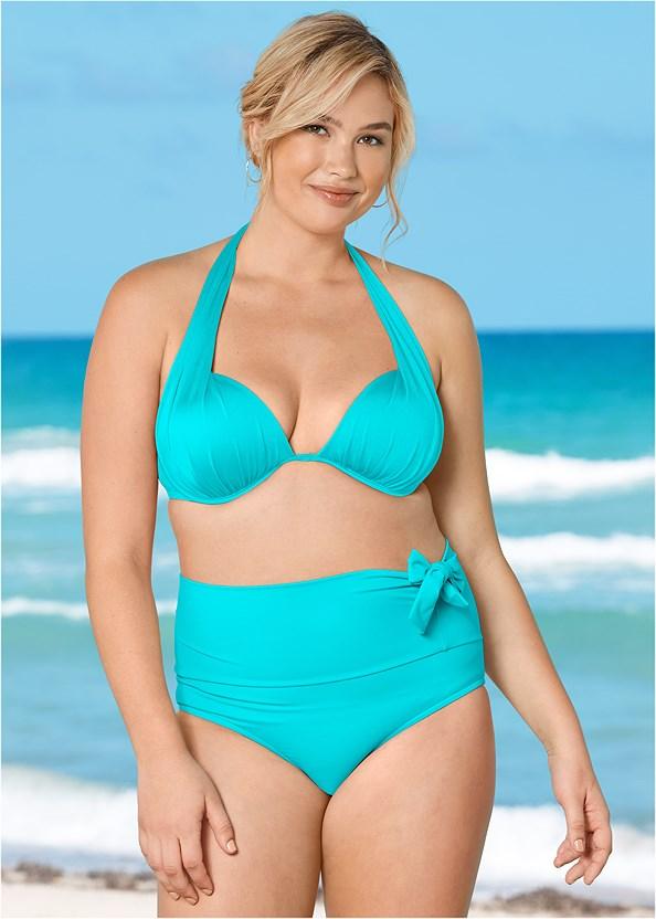 Marilyn Underwire Push Up Halter Top,Adjustable Side Bottom,Adjustable Side Swim Short,Home Run Tunic