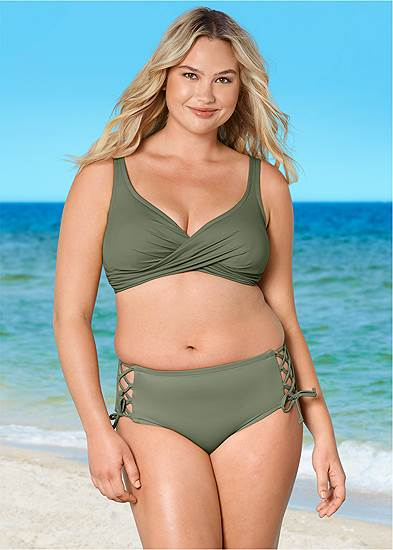 Plus Size Lattice Side Bikini Bottom