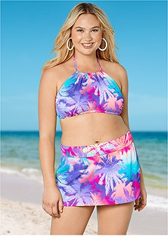 plus size high neck halter bikini top