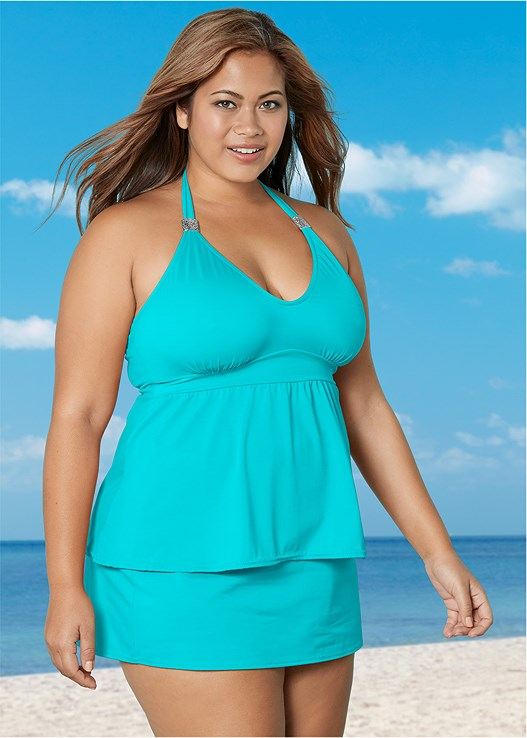 SIREN TANKINI TOP,SKIRTED SWIM BIKINI BOTTOM,MID RISE FULL CUT BOTTOM,ADJUSTABLE SIDE SWIM SHORT,TWO SETS OF SLIDERS