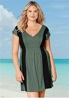 plus size color block v-neck cover-up