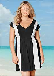 Front View Color Block V-Neck Cover-Up