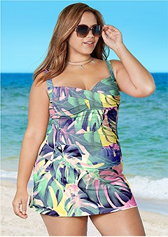 plus size slimming skirted one-piece