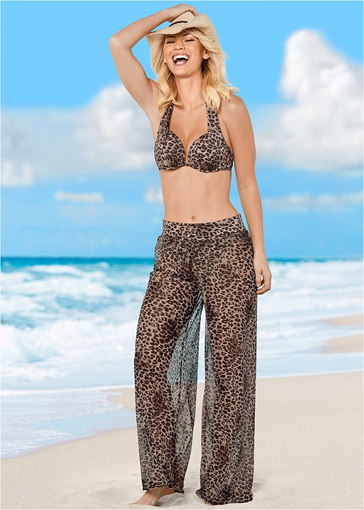 MESH COVER UP PANT,SCOOP FRONT BIKINI BOTTOM