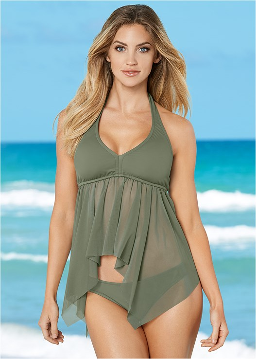 50bd7ef7b3 Army Green MESH SHARKBITE TANKINI TOP from VENUS