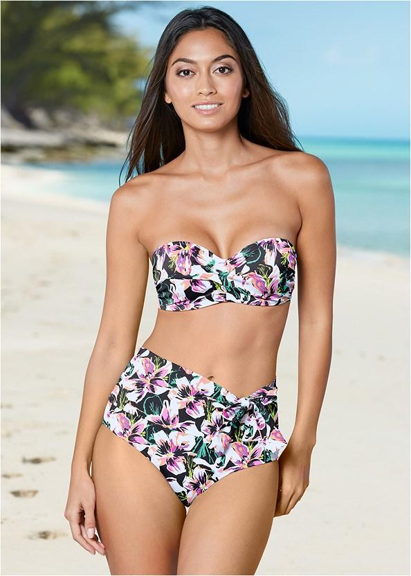 Leila High Waist Bottom,Triangle String Bikini Top,Goddess Enhancer Push Up Halter Top