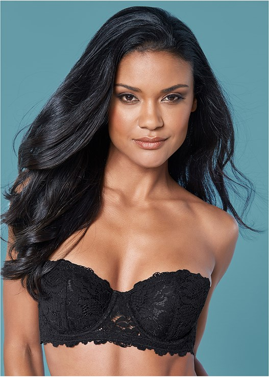 cc7038694bc Black NOVELTY LACE STRAPLESS BRA from VENUS