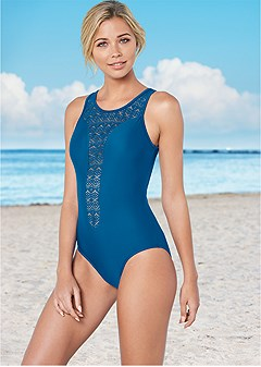 high neck crochet one-piece