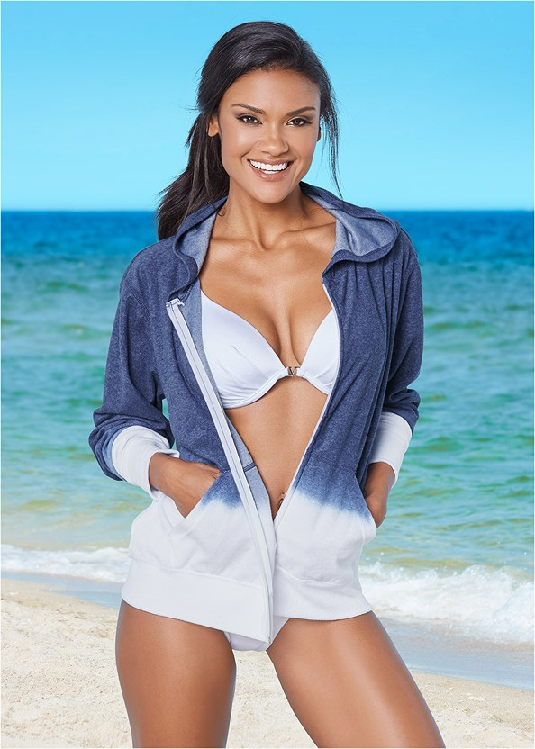 Hooded Terry Cover-Up,Marilyn Underwire Push Up Halter Top,Ruffle Edge Low Rise Bottom