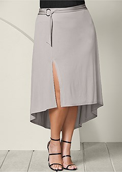 plus size belted high low maxi skirt