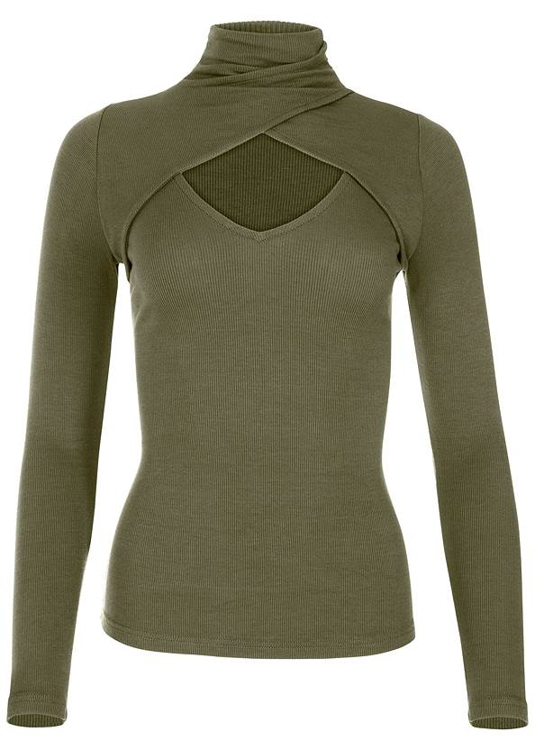 Alternate View Cut Out Mock Neck Top