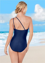 Back view One Shoulder Mesh One-Piece