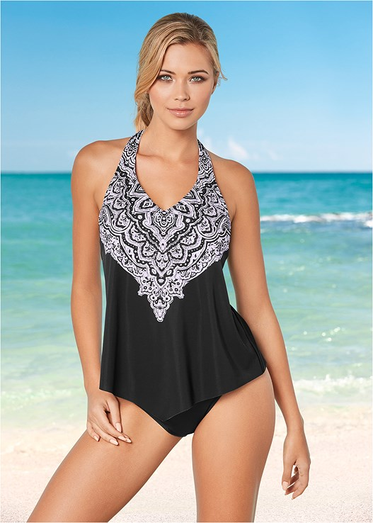 HANDKERCHIEF TANKINI,MID RISE MODERATE BOTTOM,MID RISE FULL CUT BOTTOM,ADJUSTABLE SIDE BOTTOM,SWIM SHORT