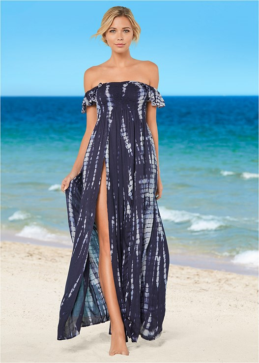 RUFFLE SLEEVE MAXI COVER-UP,MULTI WAY BANDEAU TOP,RUFFLE EDGE LOW RISE BOTTOM