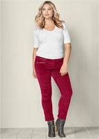 plus size zipper detail corduroy
