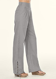 lace up detail linen pants