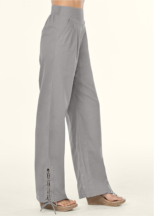 LACE UP DETAIL LINEN PANTS,EMBELLISHED WEDGES