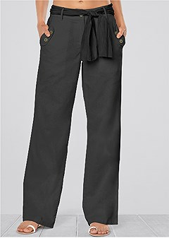 linen belted pants