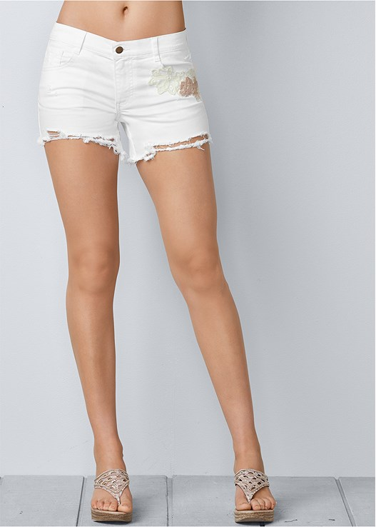 CROCHET JEAN SHORTS,RUFFLE COLD SHOULDER TOP,EMBELLISHED WEDGE