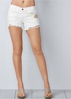 crochet jean shorts