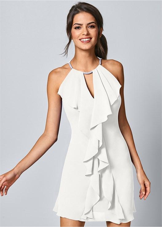 d2ecc0907694a White EMBELLISHED TRIM DRESS from VENUS