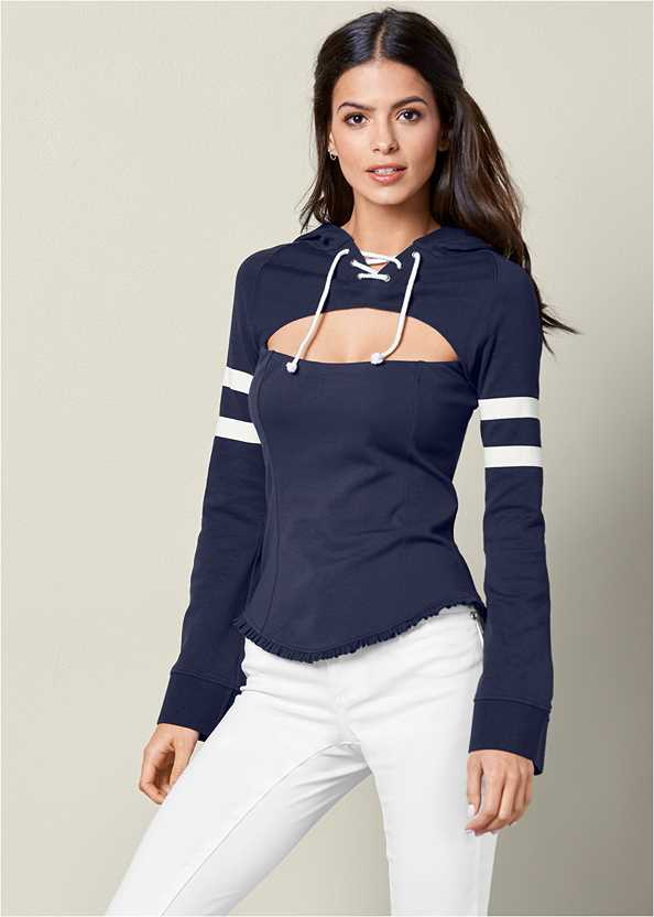 Cut Out Detail Hoodie,Mid Rise Color Skinny Jeans,Smooth Longline Push Up Bra