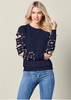 pearl detail sweatshirt