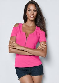 Front view Cold Shoulder Zipper Top