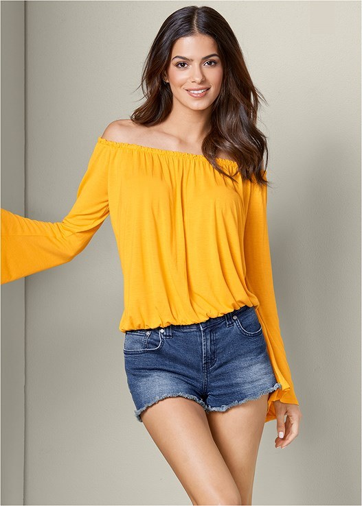 BELL SLEEVE TOP,CUT OFF JEAN SHORTS,EMBELLISHED ROPE SANDAL