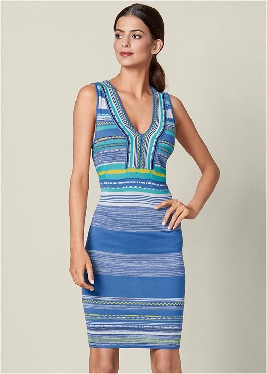 V-NECK SWEATER DRESS,RAFFIA DETAIL HEEL