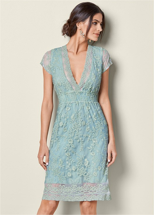 FLORAL LACE DETAIL DRESS,SPARKLE STRAPPY HEEL