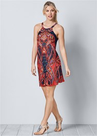 Front view Paisley Printed Mini Dress