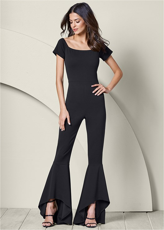 RUFFLE DETAIL JUMPSUIT,HIGH HEEL STRAPPY SANDAL