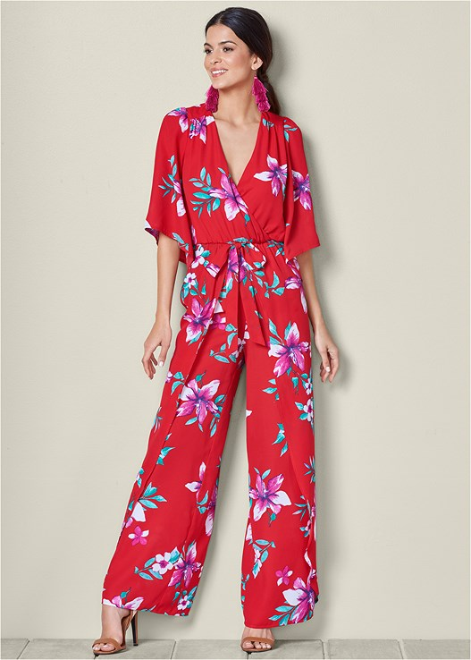 FLORAL PRINTED JUMPSUIT,RAFFIA DETAIL HEELS,TASSEL EARRINGS