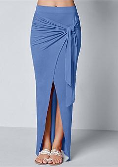 tie front long skirt