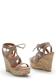 braided strappy wedge