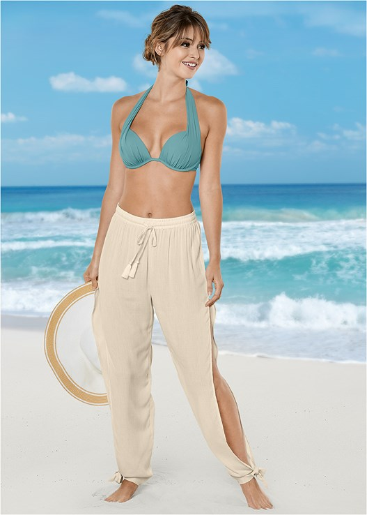 SIDE SPLIT BEACH PANT,MARILYN PUSH UP BRA TOP,LOW RISE BIKINI BOTTOM,SCOOP FRONT BIKINI BOTTOM
