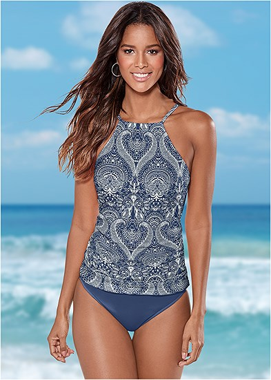 Ruched Side Halter Tankini Top