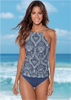 ruched side halter tankini