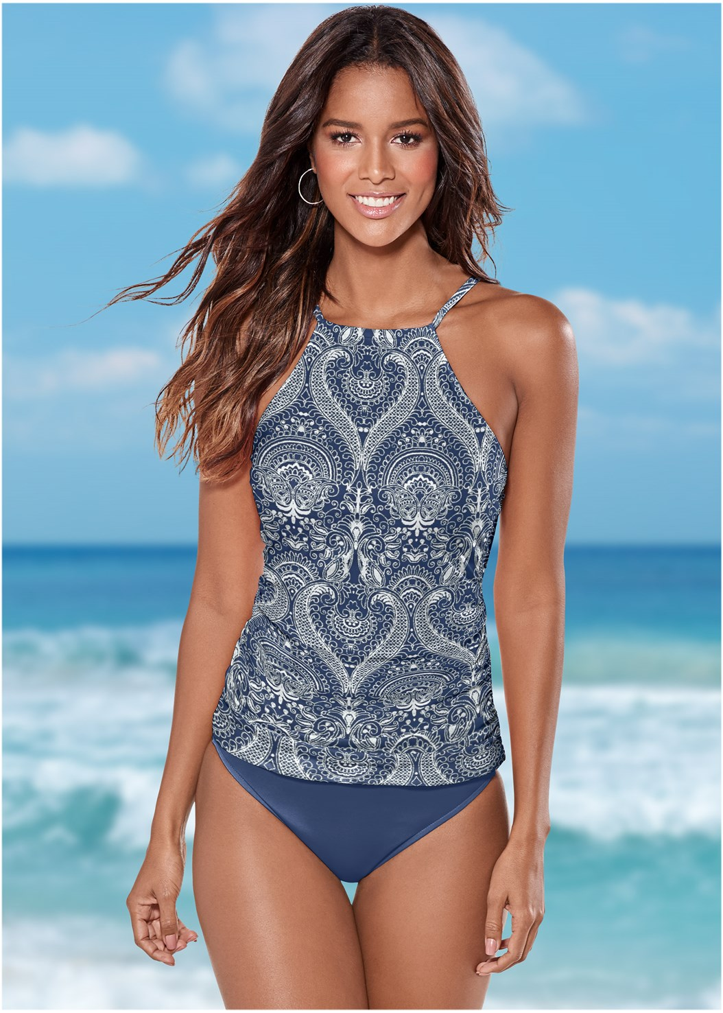 Ruched Side Halter Tankini Top,Mid Rise Hipster Classic Bikini Bottom,Low Rise Classic Bikini Bottom ,Pom Pom Bikini Bottom