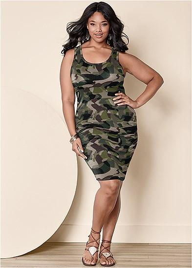 Plus Size Sleeveless Scoop Neck Ruched Bodycon Midi Dress